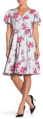 Paper Dolls Floral Print Faux Wrap Midi Dress