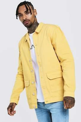 boohoo Cotton Twill Shacket With Double Pockets
