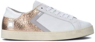 D.A.T.E Hill Low Half White And Pink-gold Laminated Leather Sneaker
