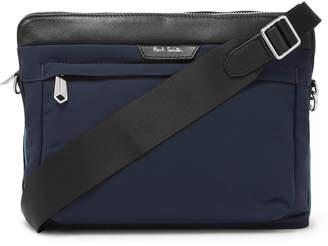 Paul Smith Leather-Trimmed Canvas Messenger Bag - Men - Blue