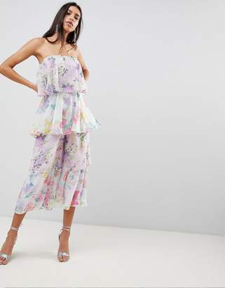 Asos DESIGN Tiered Jumpsuit in Mixed Florals