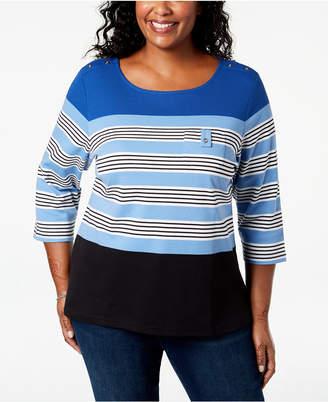 Karen Scott Plus Size Chloe Striped Top, Created for Macy's
