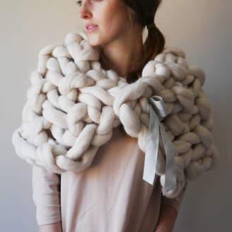 Ralph Lauren Aston Designs Chunky Knit Cape Scarf