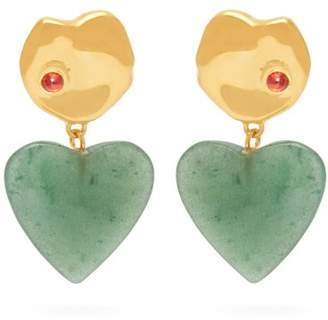 Lizzie Fortunato Venice 24kt Gold Plated Drop Earrings - Womens - Green