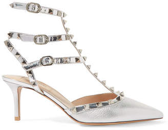 Valentino Garavani The Rockstud Mirrored And Metallic Textured-leather Pumps