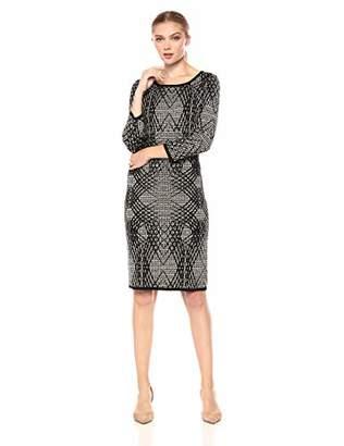 Taylor Dresses Women's Geometric Modern Print Sweater Dress