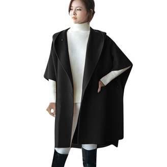 T Tahari HHmei Coats for Women Ella, Women Loose Batwing Wool Poncho Winter Warm Coat Jacket Cloak Cape Parka Outwear, Winter Trench Coats for Women 13 x-Military Coats and Jackets