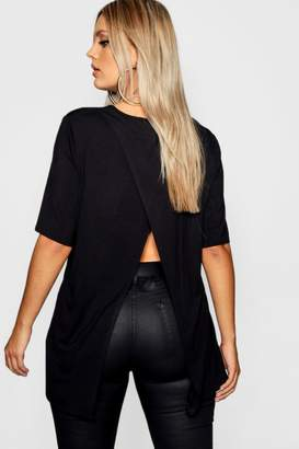 boohoo Plus Split Jersey Open Back T-Shirt