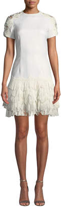 Jonathan Simkhai Short-Sleeve Macrame Fringe Cocktail Dress