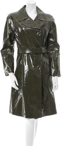 pradaPrada Belted Patent Leather Coat
