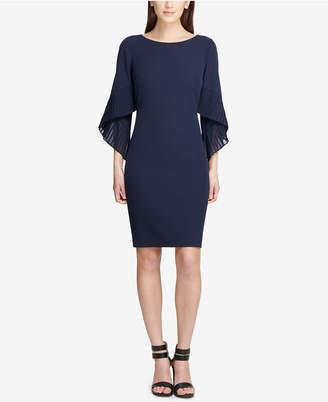 DKNY Pleated Bell-Sleeve Sheath Dress