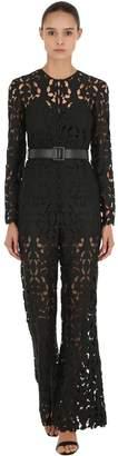 Self-Portrait Tech Lace Jumpsuit W/ Faux Leather Belt