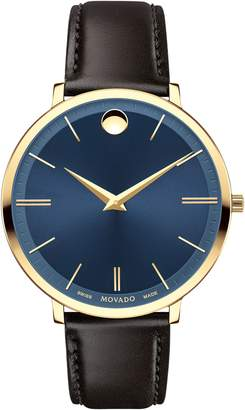 Movado Ultraslim Leather Strap Watch, 35mm