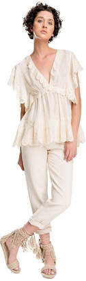 Max Studio cotton silk voile scalloped top