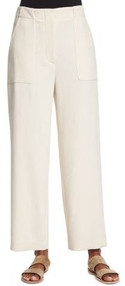 THE ROW Wide-Leg Cropped Utility Pants, Ivory Cream $1,450 thestylecure.com