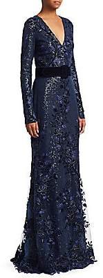 Badgley Mischka Women's Velvet Sequin Gown