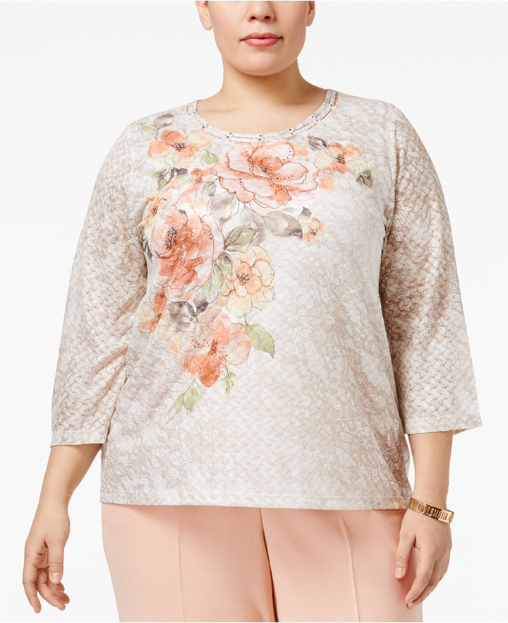 Alfred DunnerAlfred Dunner Plus Size Embellished Floral-Print Top