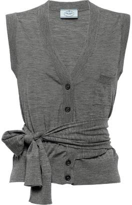 Prada sleeveless button cardigan