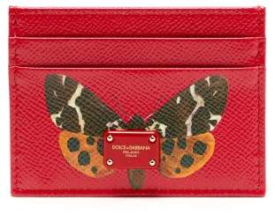 Dolce & Gabbana Butterfly Print Leather Cardholder - Womens - Red Multi