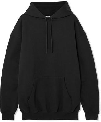 Balenciaga Oversized Printed Cotton-jersey Hooded Top - Black