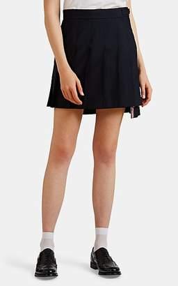 Thom Browne Women's Grosgrain-Trimmed Wool-Blend Miniskirt - Navy