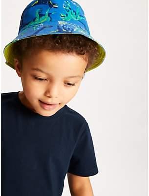 59bfa7a0 John Lewis & Partners Children's Dinosaur Bucket Hat, Blue/Green
