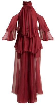 Maria Lucia Hohan Oksanna Silk Evening Gown - Womens - Dark Red
