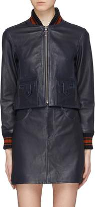 Victoria Beckham VICTORIA, Leather cropped bomber jacket