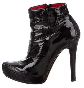 Gianmarco Lorenzi Snakeskin-Trimmed Ankle Boots