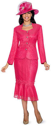 GIOVANNA COLLECTION Giovanna Collection Women's 2-piece Lace Eyelets Skirt Suit