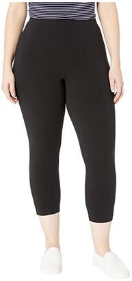 Hue Plus Size Wide Waistband Blackout Cotton Capri Leggings