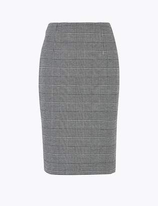 M&S CollectionMarks and Spencer Jersey Checked Pencil Knee Length Skirt