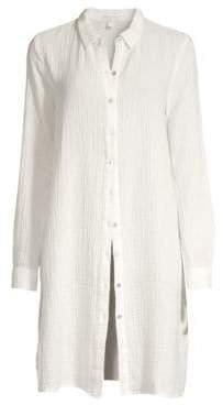 Eileen Fisher Women's Organic Cotton Button-Down Tunic - Soft White - Size XS