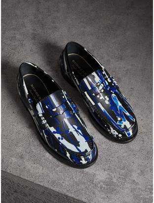 Burberry Splash Leather Penny Loafers
