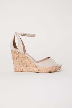 H&M Wedge-heel Platform Sandals - Beige