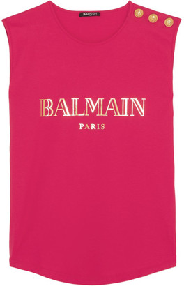 Balmain - Button-embellished Printed Cotton-jersey Top - Fuchsia $210 thestylecure.com