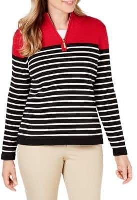 Karen Scott Cotton Colourblocked Sweater
