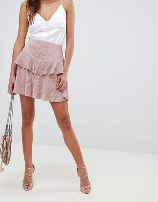 Asos DESIGN pleat tiered ruffle mini skirt