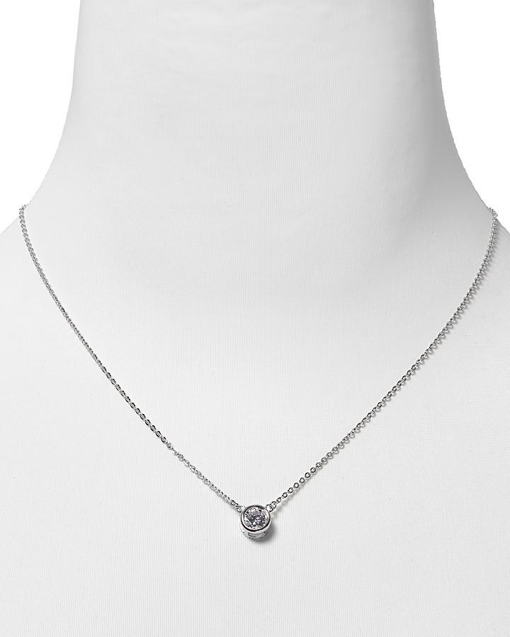 """Crislu Bezel Pendant Necklace, 16"""""""