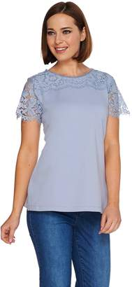 Isaac Mizrahi Live! Short Sleeve Knit Top with Lace Yoke