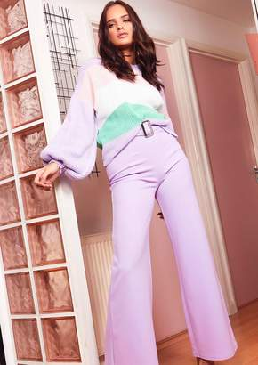 1b548026a5ee76 Missy Empire Roe Lilac High Waist Belted Wide Leg Trousers