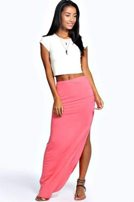 boohoo Ruched Side Jersey Maxi Skirt