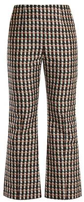 Marni - Ripple Print Kick Flare Cotton Blend Trousers - Womens - Black Print