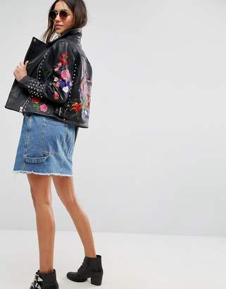 Asos DESIGN Premium Leather Biker Jacket with Floral Embroidery and Stud Detail