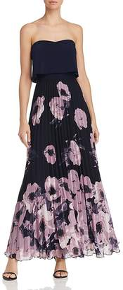 Aqua Pleated Floral-Print Strapless Maxi Dress - 100% Exclusive