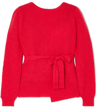 ALEXACHUNG Open-back Mohair-blend Wrap Sweater - Red