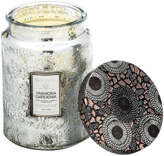 Voluspa Japonica Yashioka Gardenia Large Embossed Glass Jar Candle