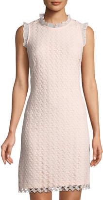 Karl Lagerfeld Paris Circle-Lace Ruffle-Trimmed Dress