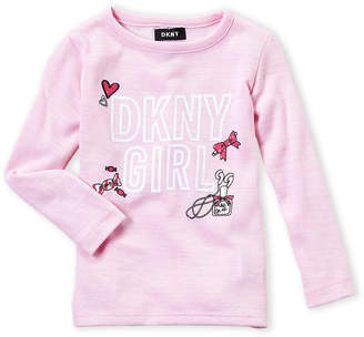 DKNY Girls 4-6x) Graphic Long Sleeve Top