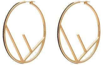 Fendi gold F is large black crystal hoops